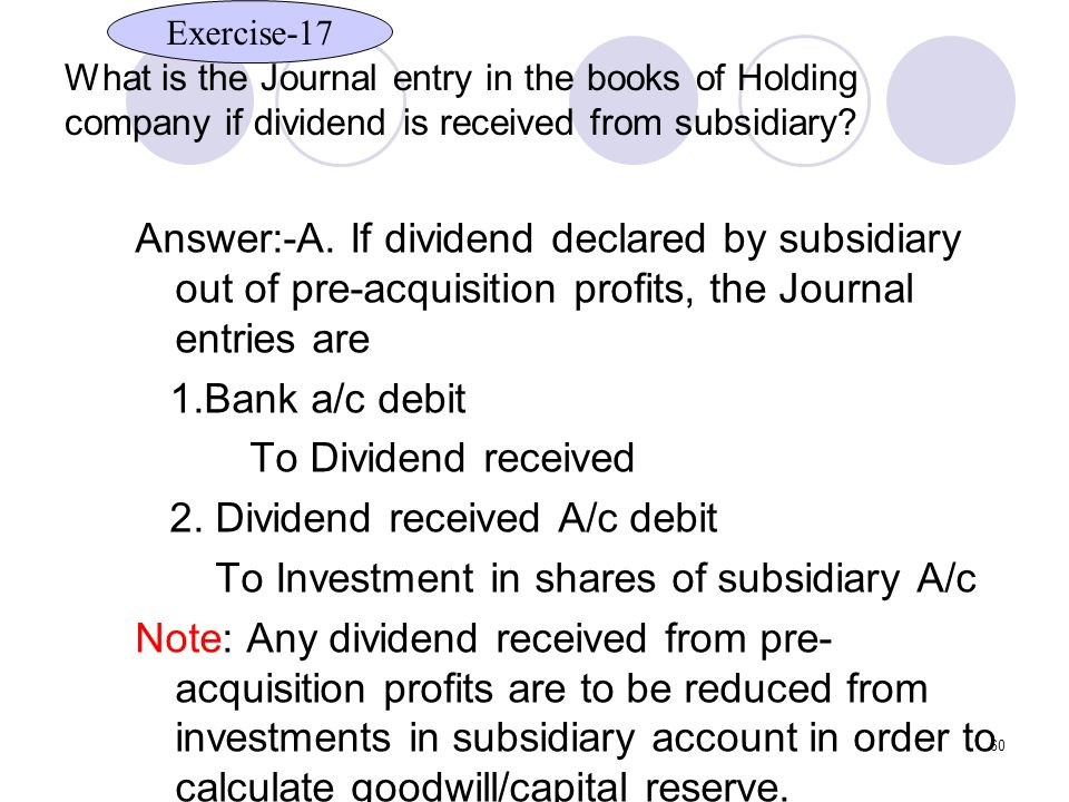 2. Dividend received A/c debit
