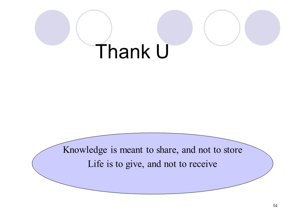 Thank U Knowledge is meant to share, and not to store