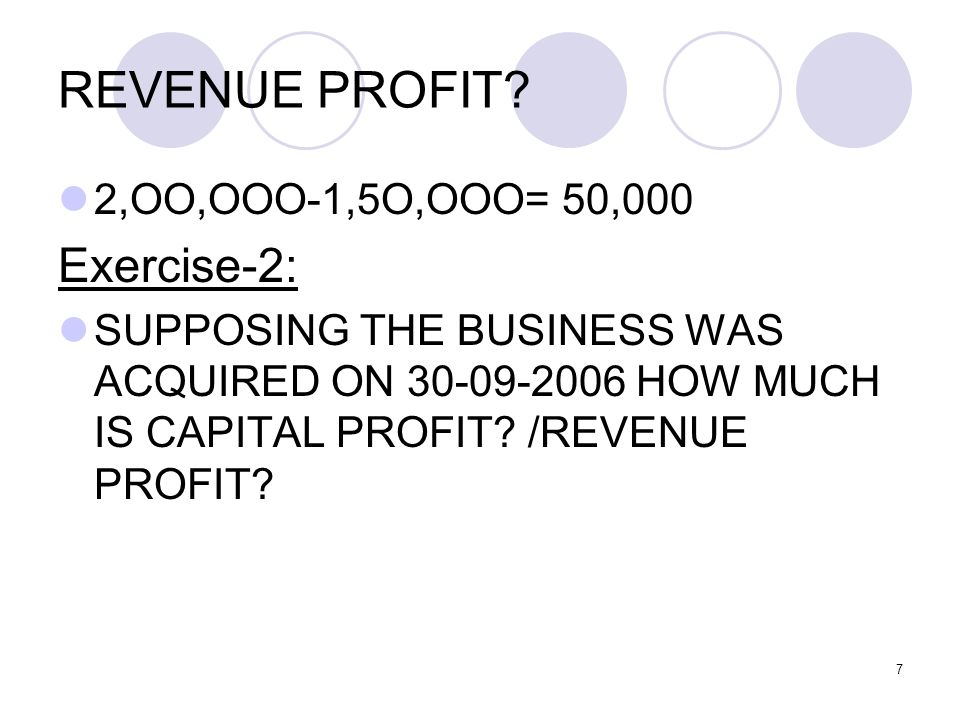 REVENUE PROFIT Exercise-2: 2,OO,OOO-1,5O,OOO= 50,000