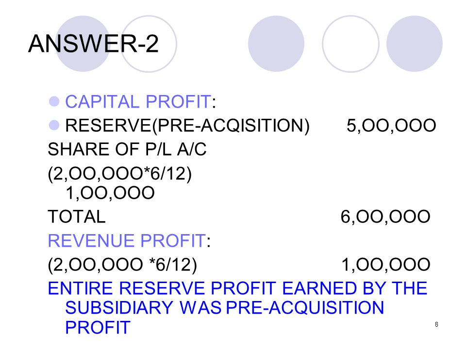 ANSWER-2 CAPITAL PROFIT: RESERVE(PRE-ACQISITION) 5,OO,OOO