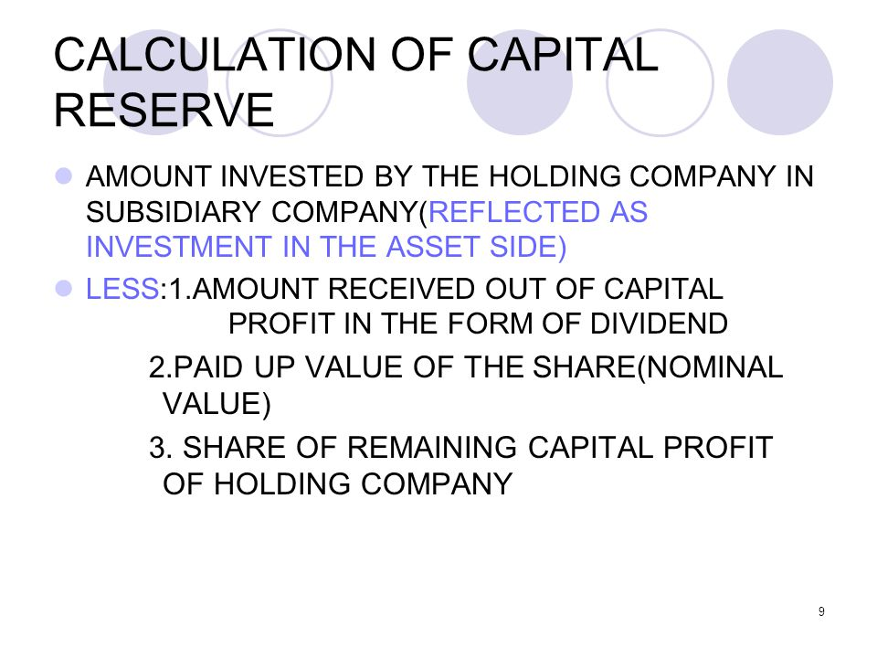 CALCULATION OF CAPITAL RESERVE