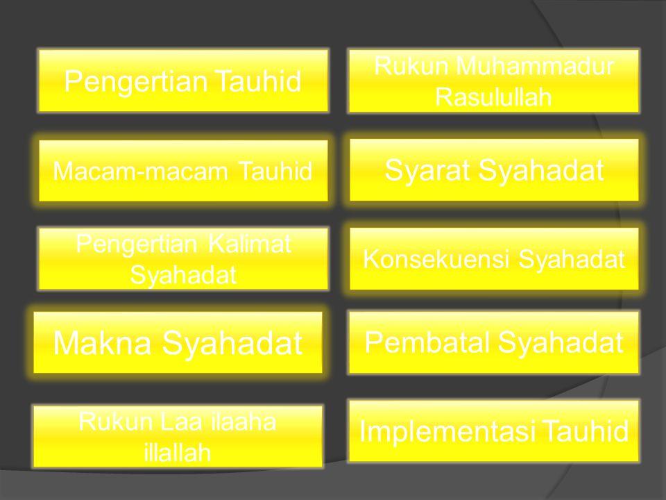 Makna Syahadat Pengertian Tauhid Syarat Syahadat Pembatal Syahadat