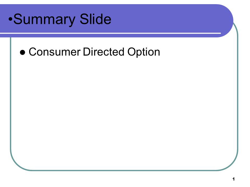 Summary Slide Consumer Directed Option