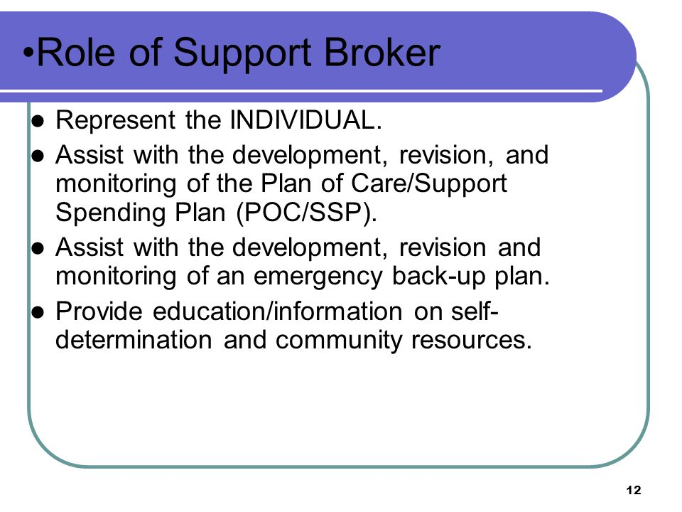 Role of Support Broker Represent the INDIVIDUAL.