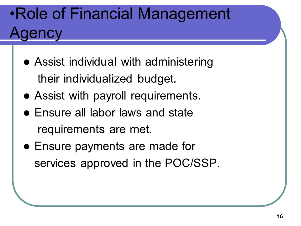 Role of Financial Management Agency