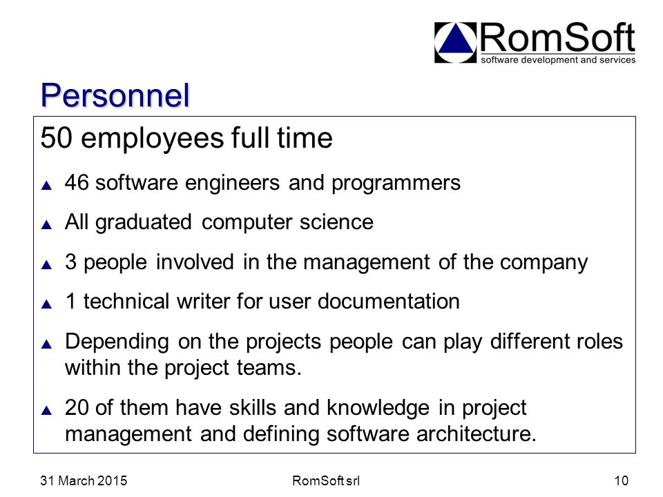 Personnel 50 employees full time 46 software engineers and programmers