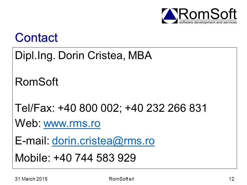 Contact Dipl.Ing. Dorin Cristea, MBA RomSoft