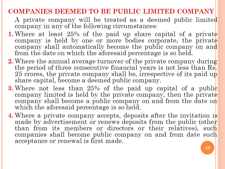 COMPANIES DEEMED TO BE PUBLIC LIMITED COMPANY