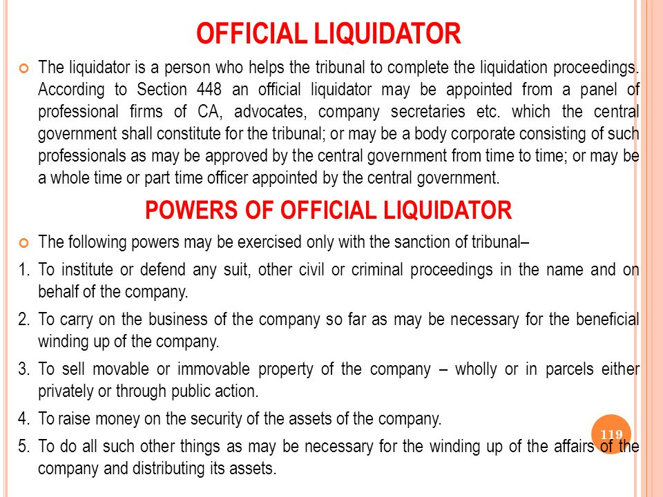 POWERS OF OFFICIAL LIQUIDATOR