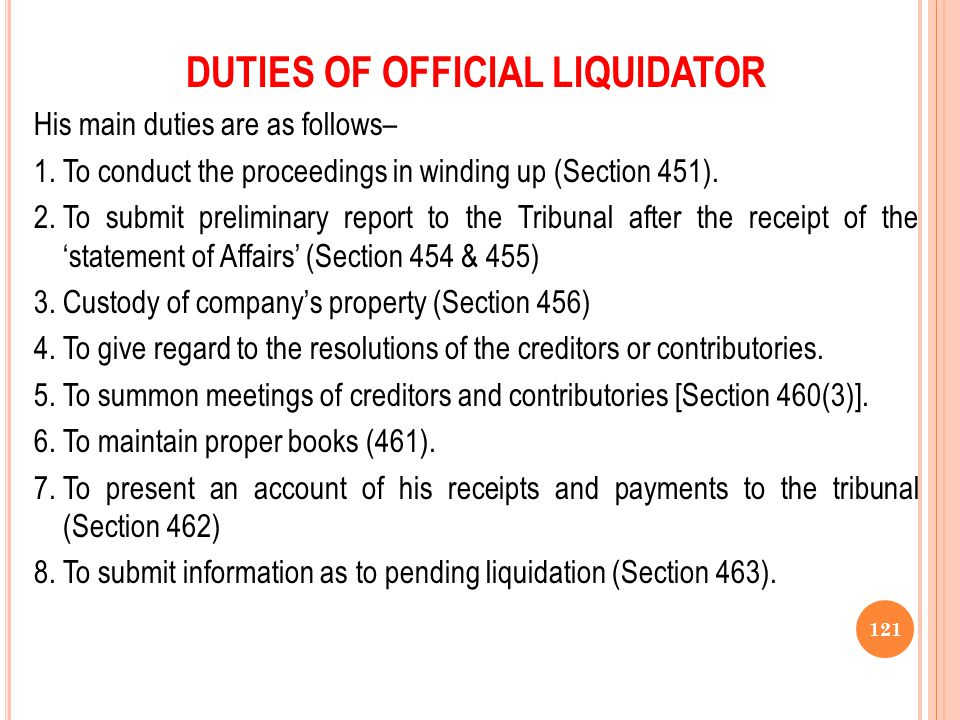 DUTIES OF OFFICIAL LIQUIDATOR