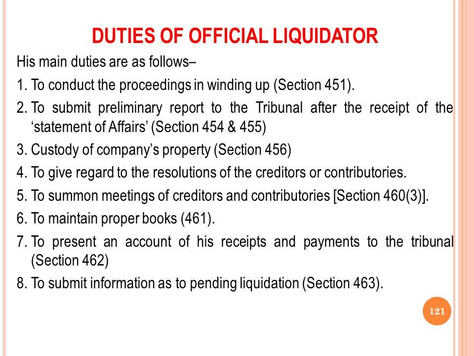DUTIES OF OFFICIAL LIQUIDATOR