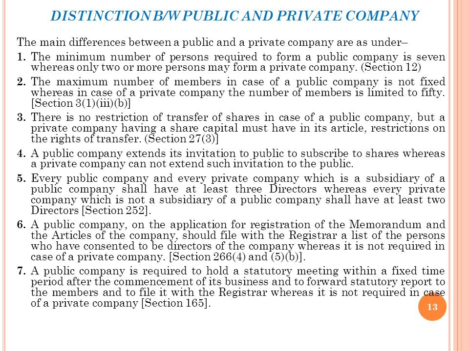 DISTINCTION B/W PUBLIC AND PRIVATE COMPANY