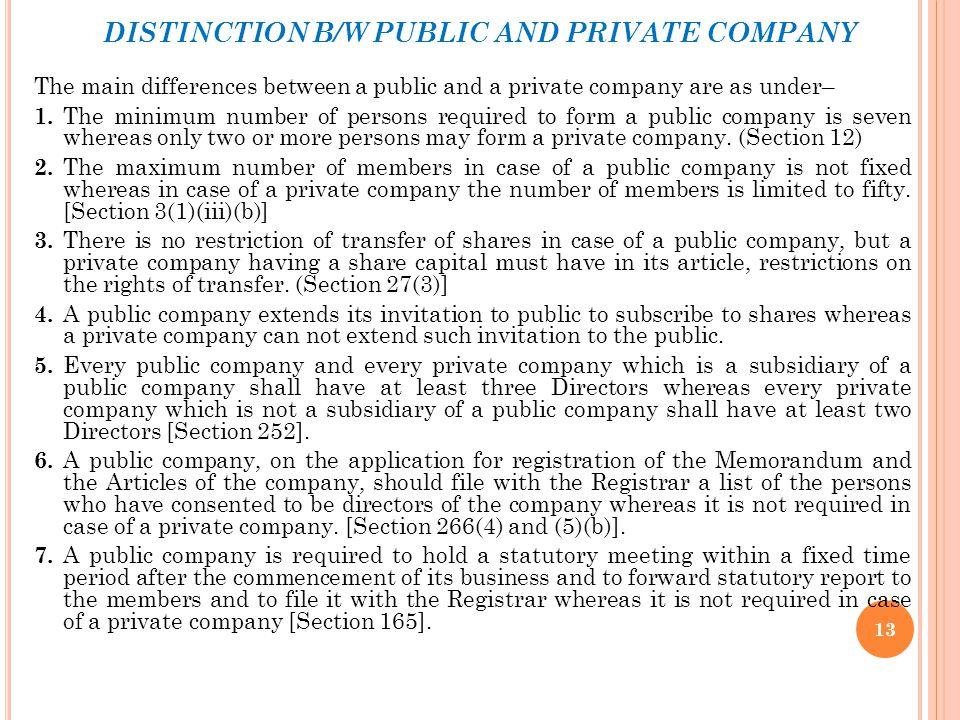 DISTINCTION B/W PUBLIC AND PRIVATE COMPANY