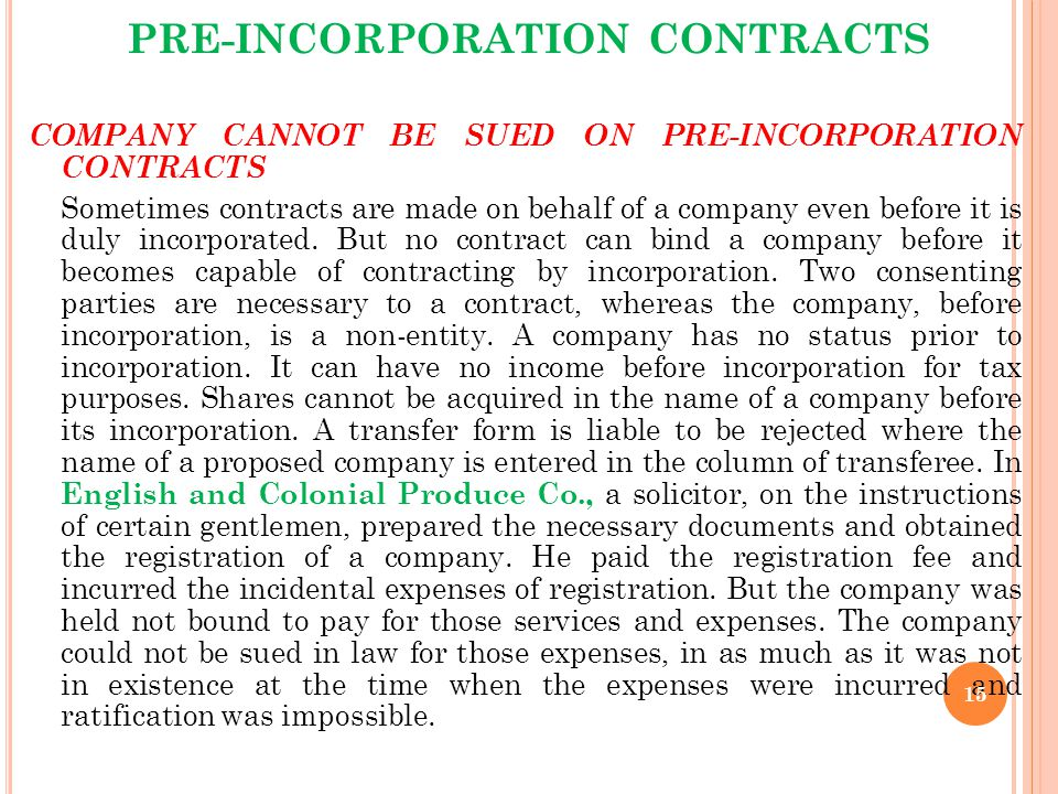 Pre-incorporation Contracts