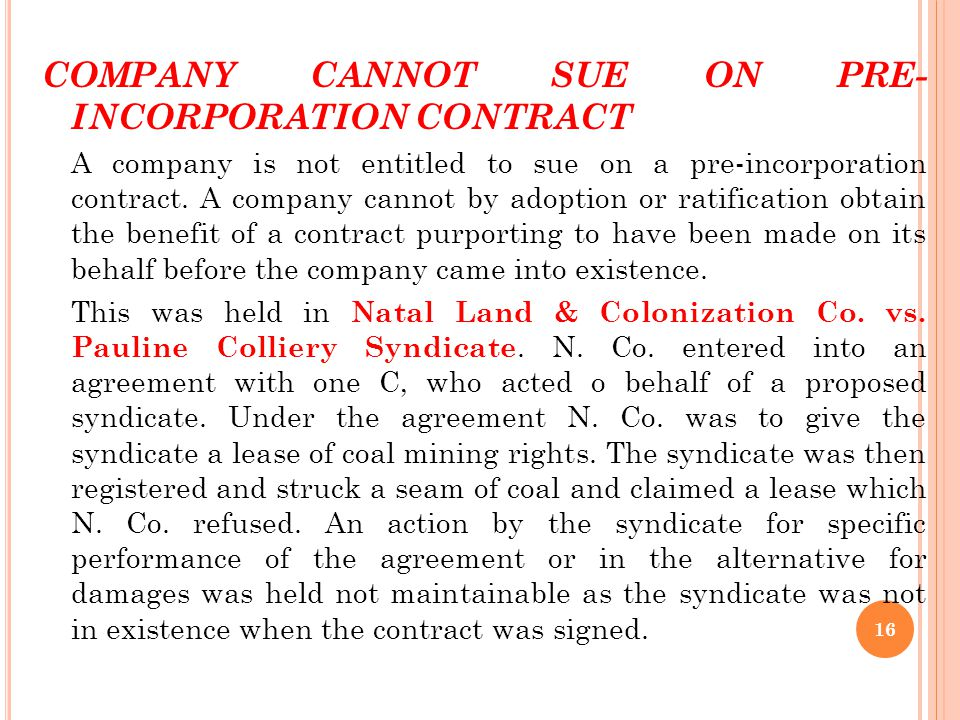COMPANY CANNOT SUE ON PRE- INCORPORATION CONTRACT