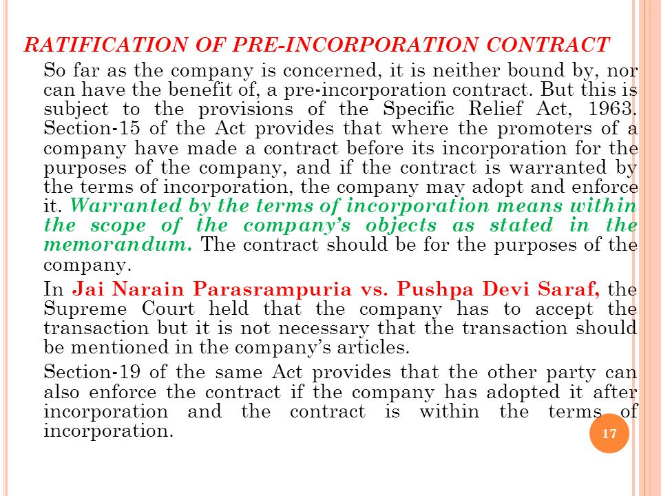 RATIFICATION OF PRE-INCORPORATION CONTRACT