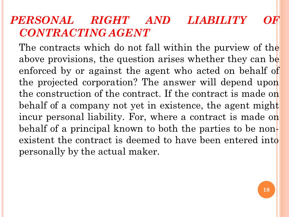 PERSONAL RIGHT AND LIABILITY OF CONTRACTING AGENT
