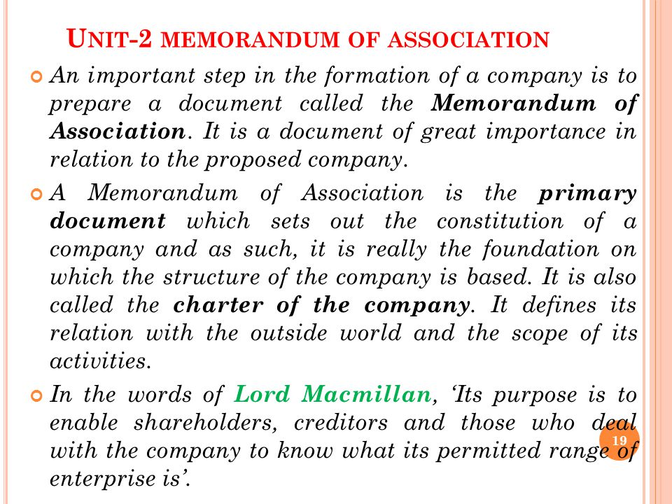 Unit-2 memorandum of association