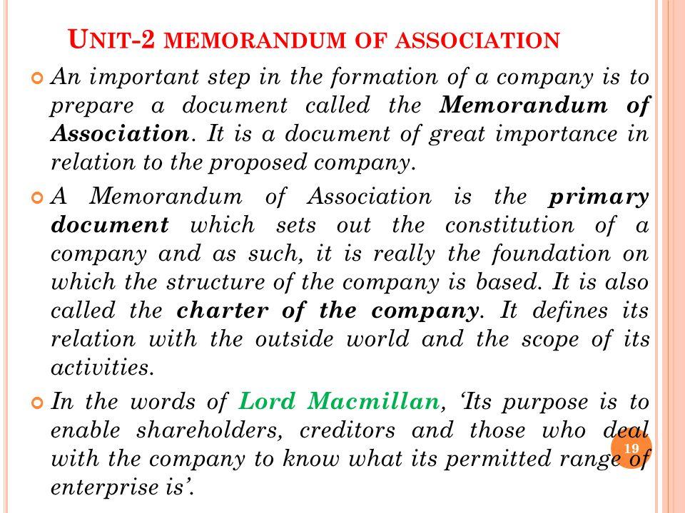Unit-2 memorandum of association