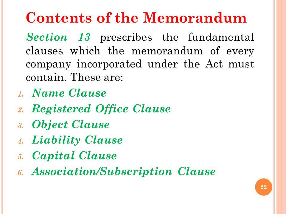 Contents of the Memorandum