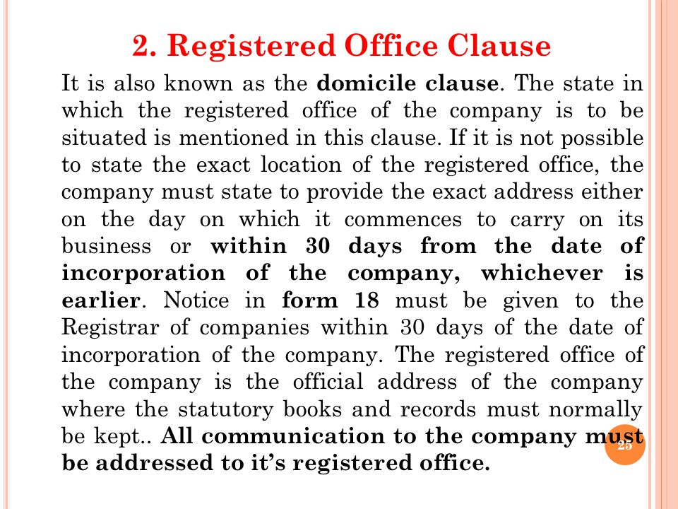 2. Registered Office Clause