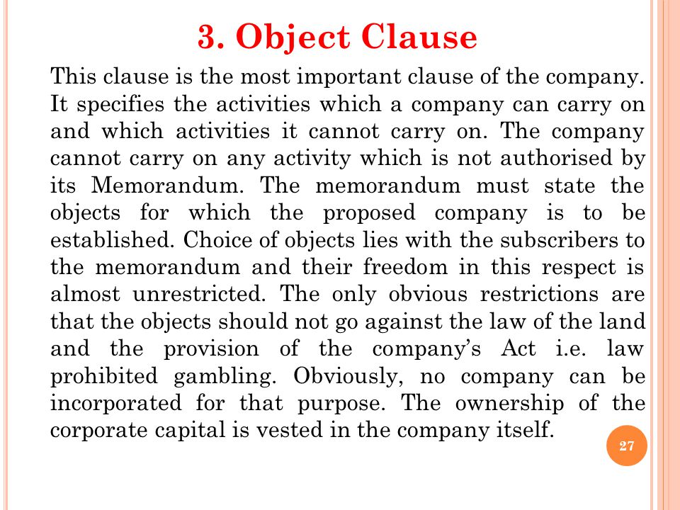 3. Object Clause