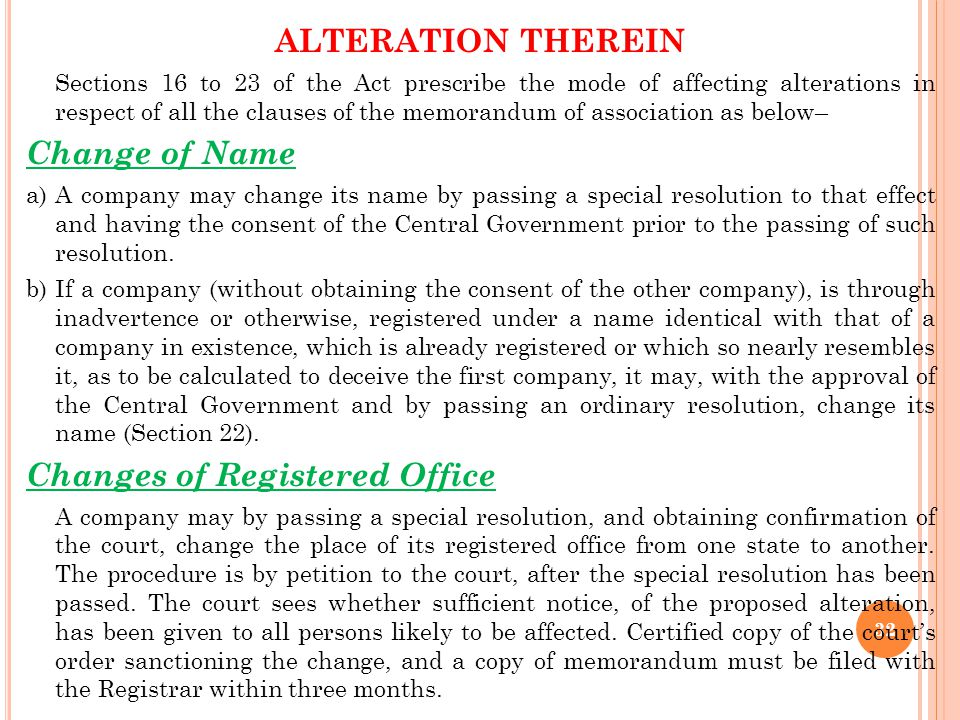 Changes of Registered Office