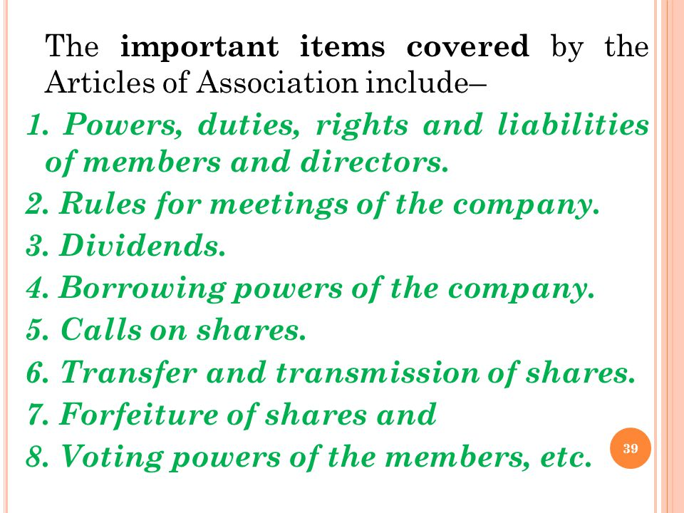 1. Powers, duties, rights and liabilities of members and directors.