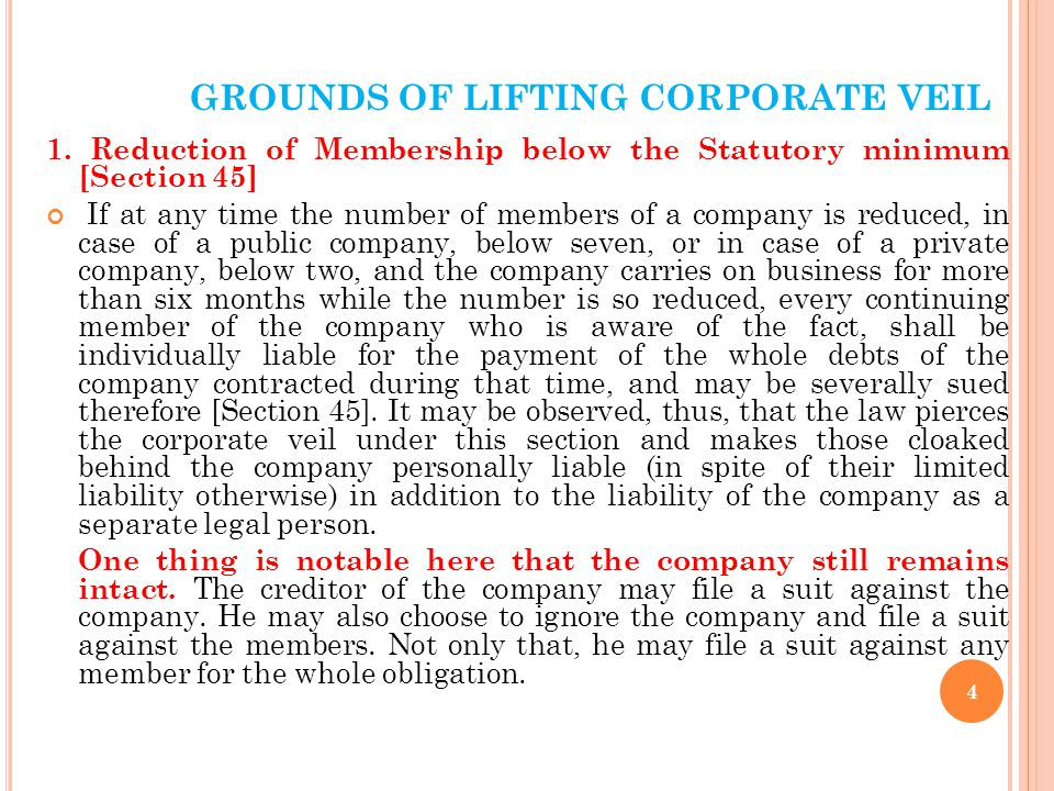GROUNDS OF LIFTING CORPORATE VEIL