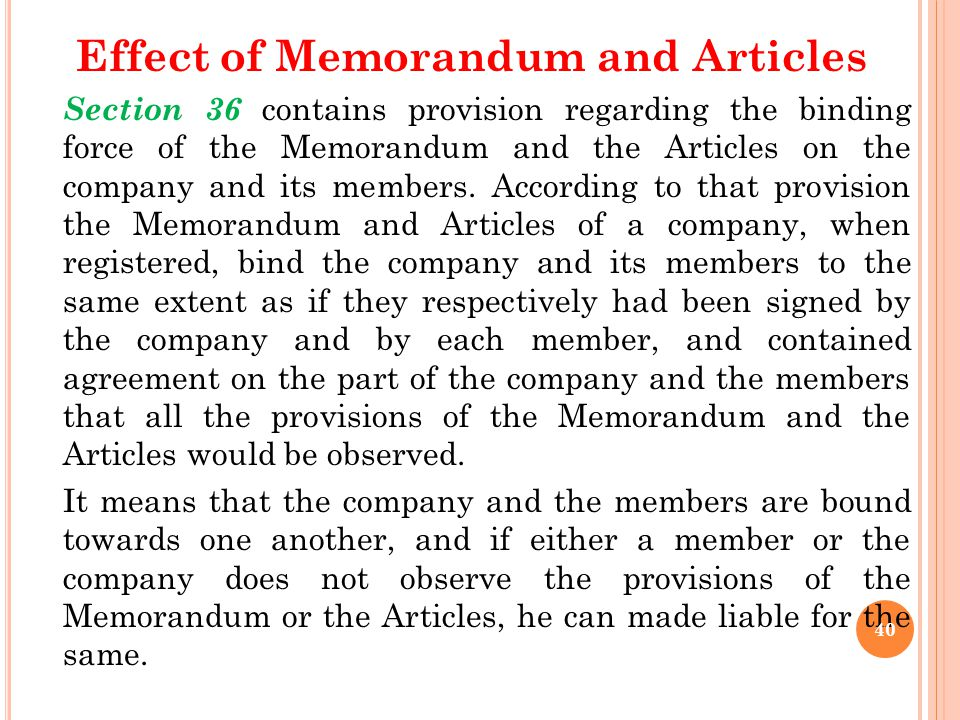 Effect of Memorandum and Articles