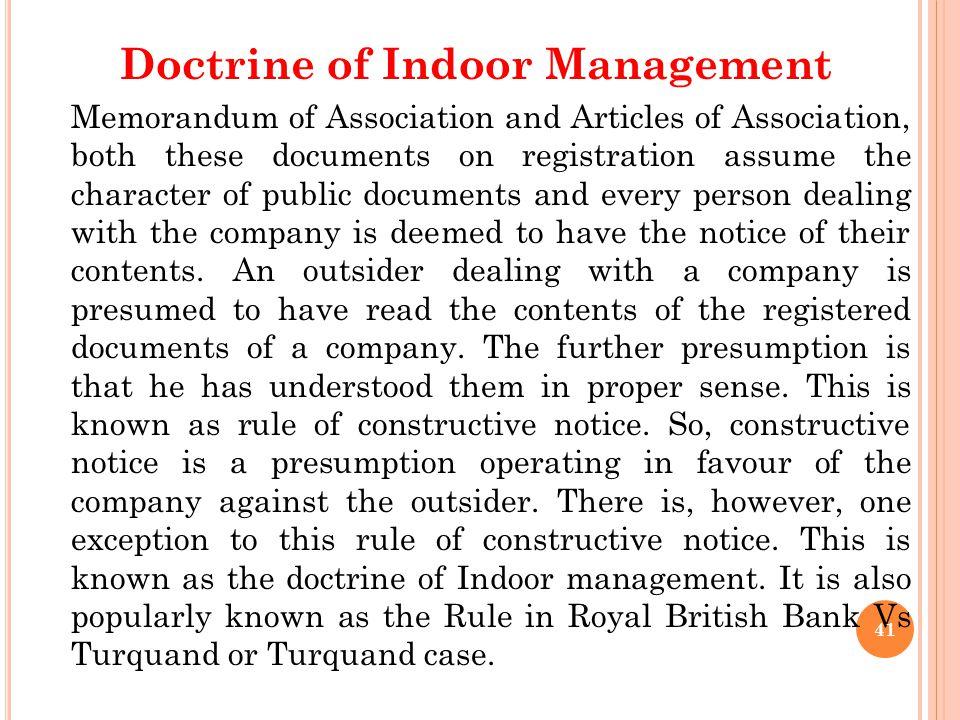 Doctrine of Indoor Management