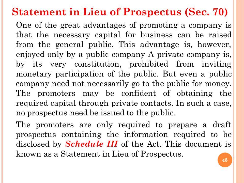 Statement in Lieu of Prospectus (Sec. 70)