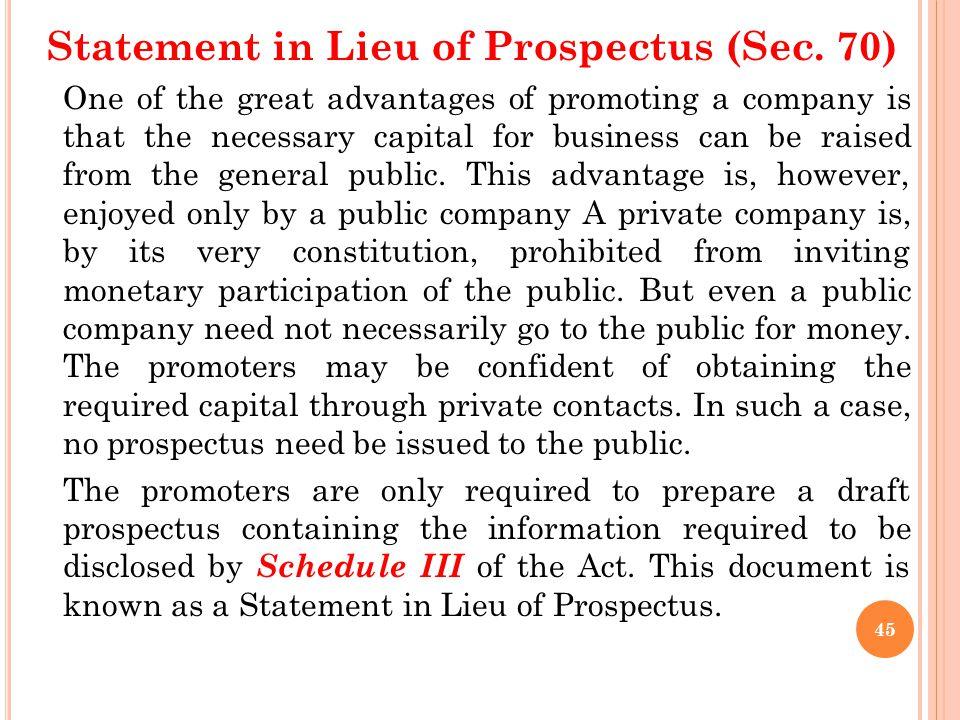 Statement in Lieu of Prospectus (Sec. 70)