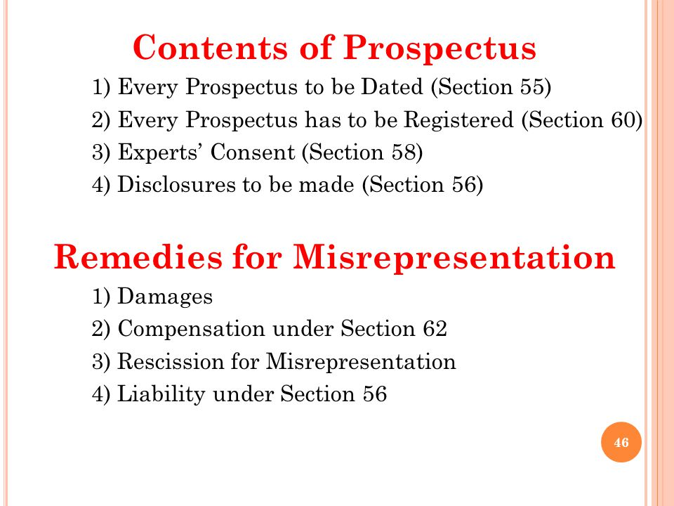 Contents of Prospectus Remedies for Misrepresentation