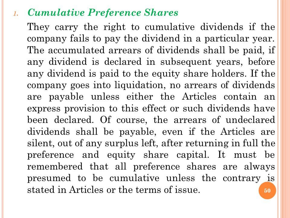 Cumulative Preference Shares