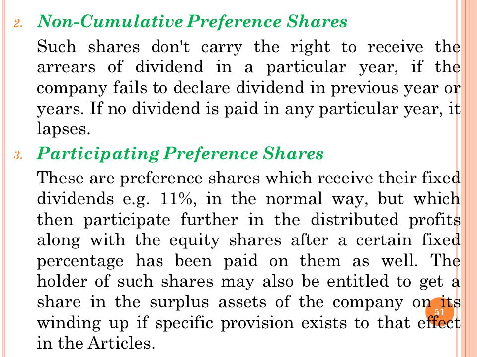 Non-Cumulative Preference Shares