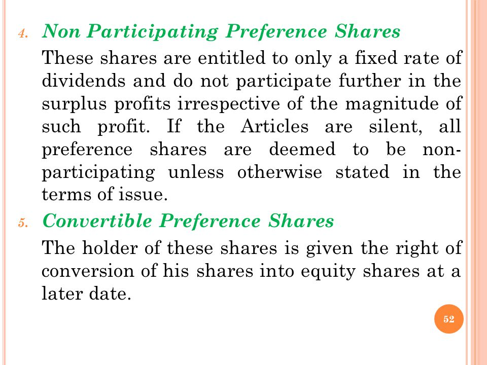 Non Participating Preference Shares