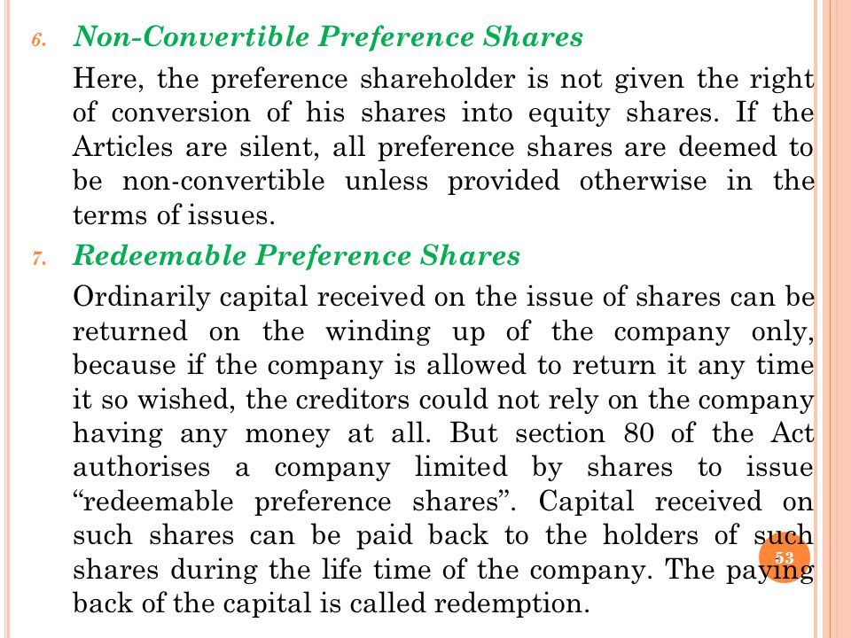 Non-Convertible Preference Shares