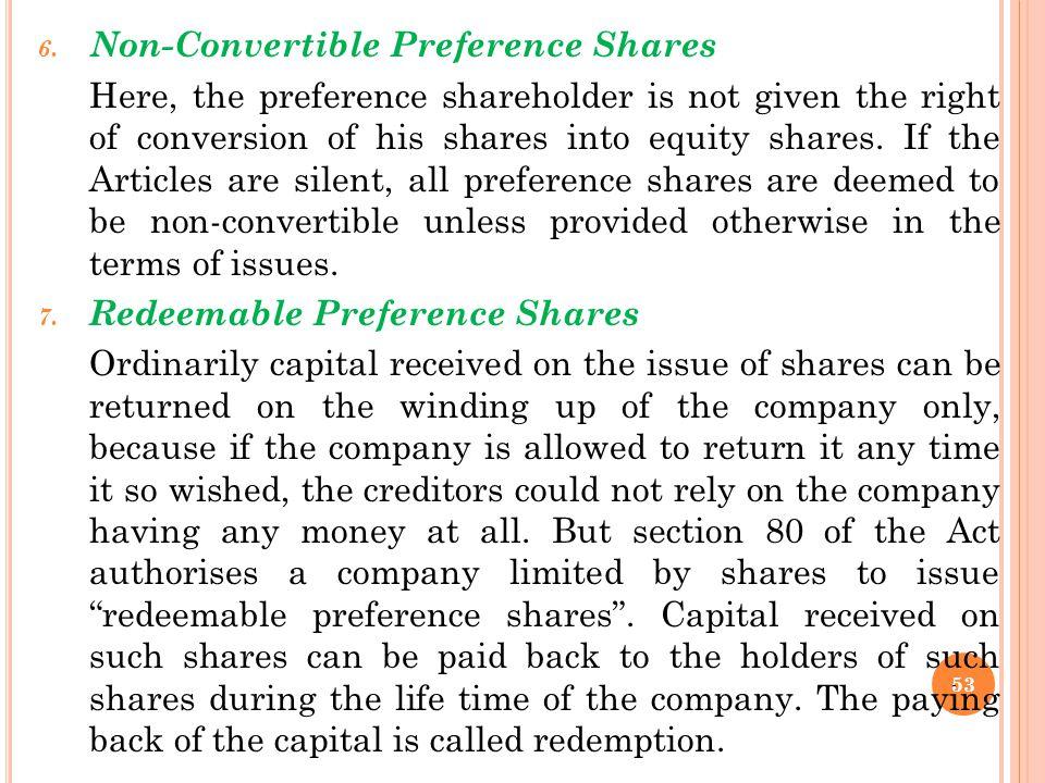 Non-Convertible Preference Shares
