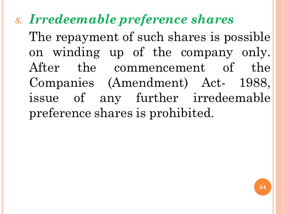Irredeemable preference shares