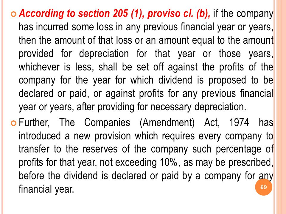 According to section 205 (1), proviso cl