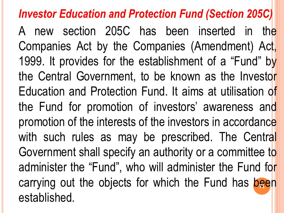 Investor Education and Protection Fund (Section 205C)
