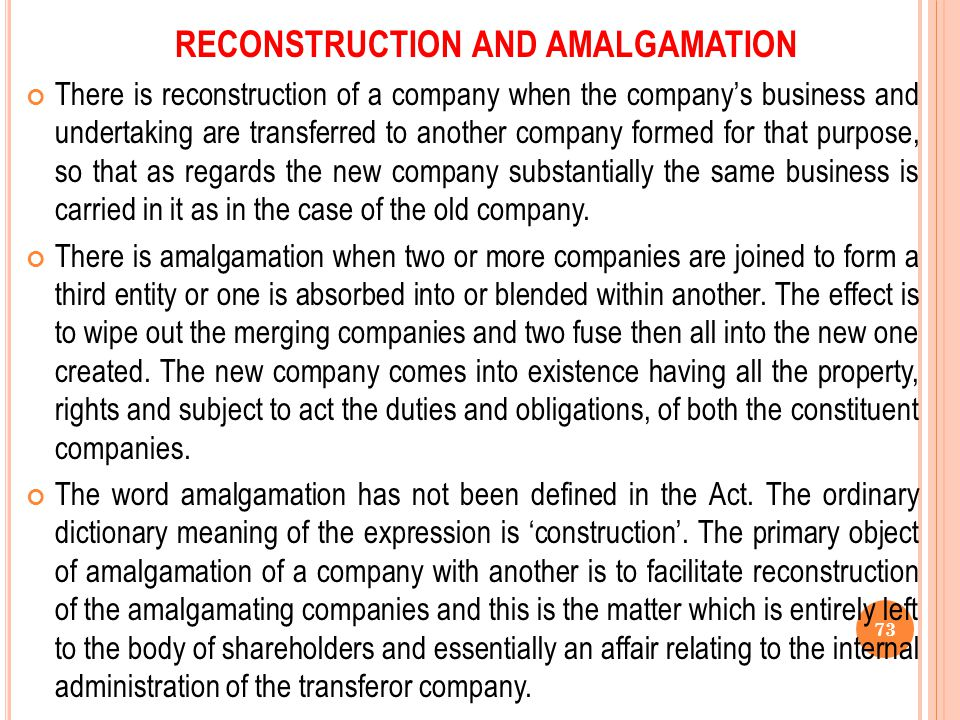 RECONSTRUCTION AND AMALGAMATION