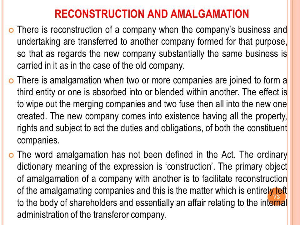 RECONSTRUCTION AND AMALGAMATION
