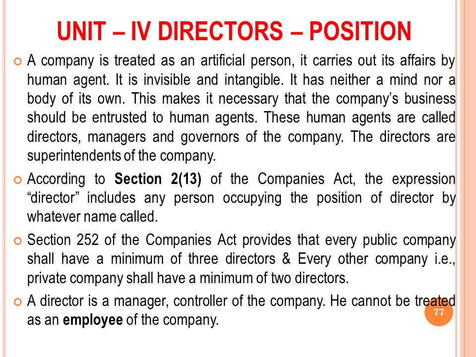 UNIT – IV DIRECTORS – POSITION