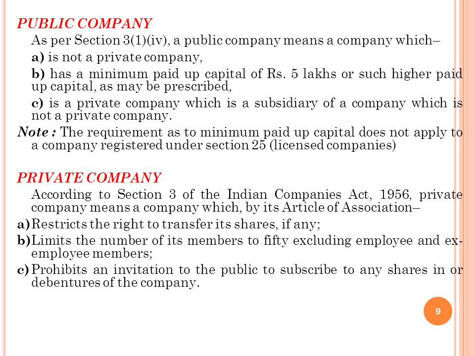 PUBLIC COMPANY As per Section 3(1)(iv), a public company means a company which– a) is not a private company,