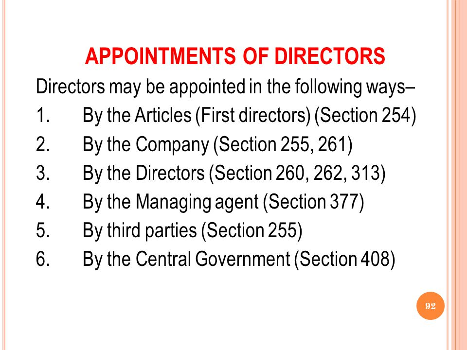 APPOINTMENTS OF DIRECTORS