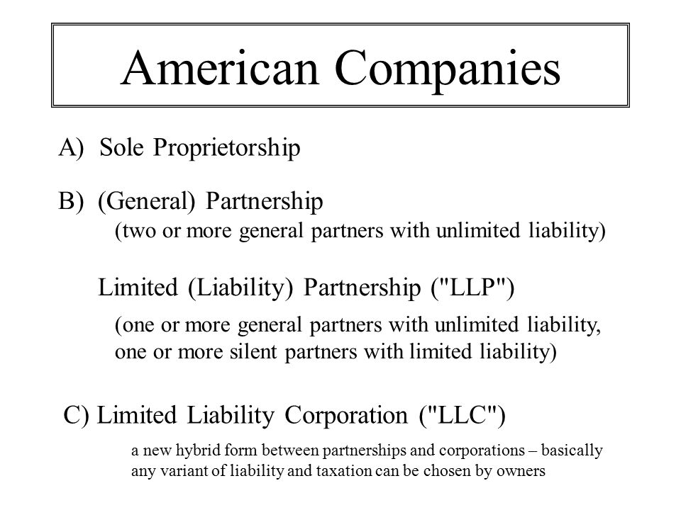 American Companies A) Sole Proprietorship B) (General) Partnership