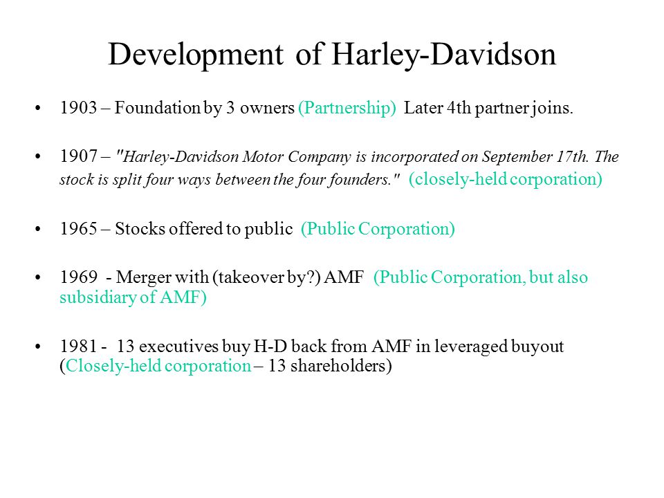 Development of Harley-Davidson