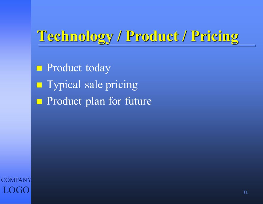 Technology / Product / Pricing